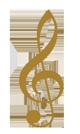 Notenschlüssel in gold für die Wensite des Wiener Hofburg-Orchester