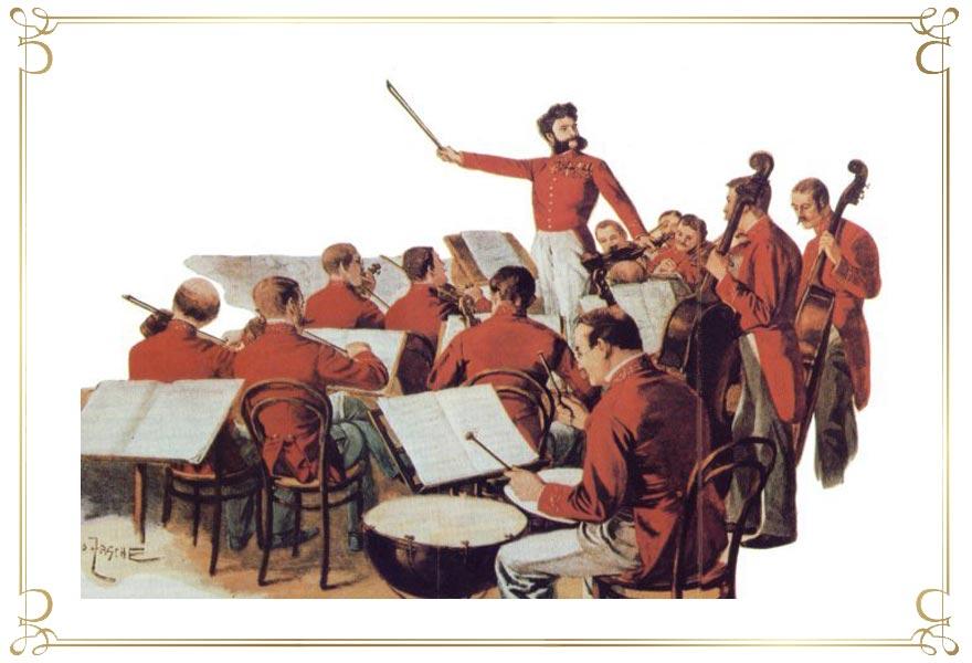 Gemälde von J. Strauss mit Orchester