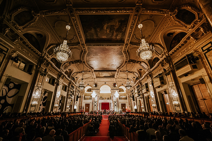 Festsaal of the Vienna Hofburg, the Imperial Palace in Vienna at the Christmas concert of the Vienna Hofburg-Orchestra