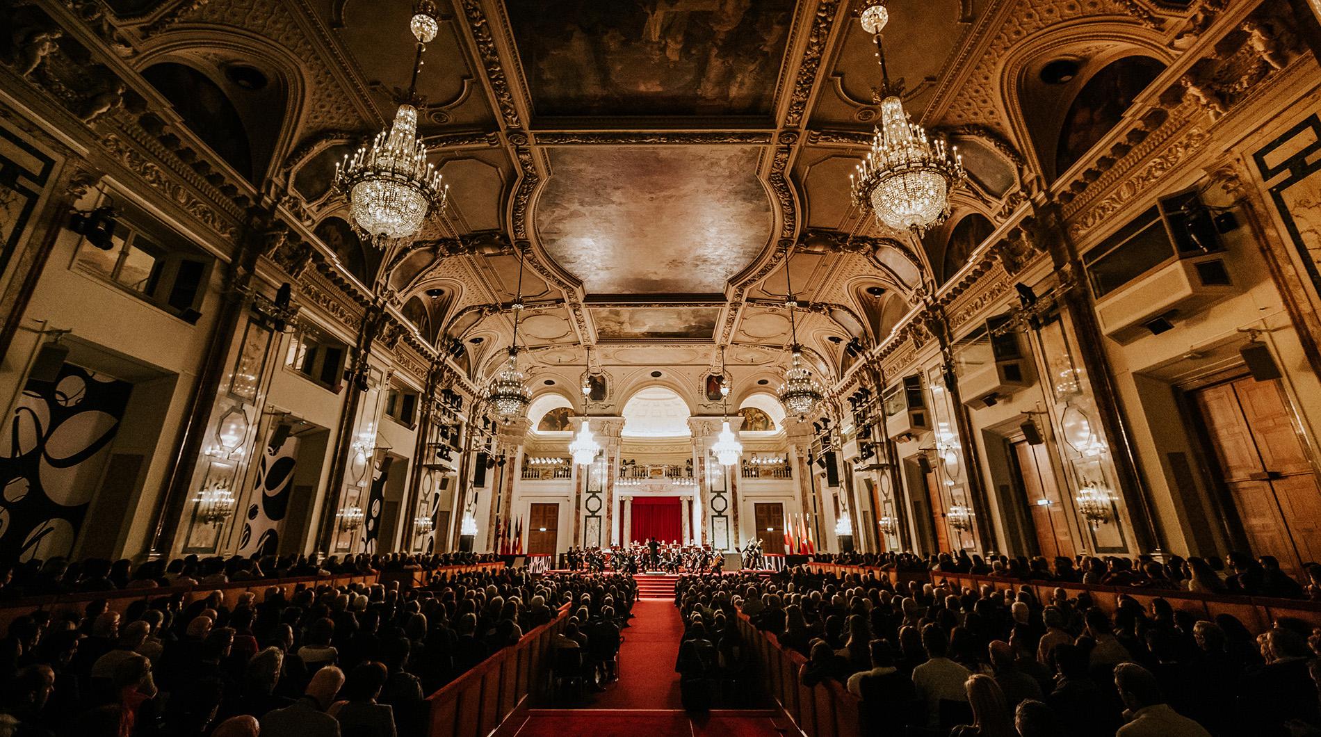 el Festsaal der Palacio Hofburg en Viena al concierto de Navidad