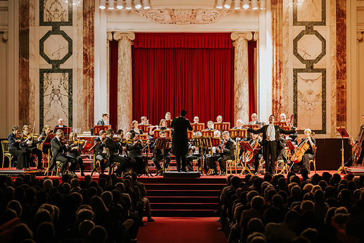 "Vienna Hofburg-Orchestra playing a piece from ""The Merry Widow"" at the Vienna Hofburg"